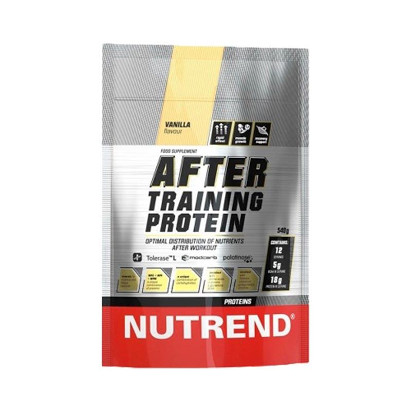 Saqueta de fácil abertura e fecho com 540 gramas do After Training Protein Baunilha