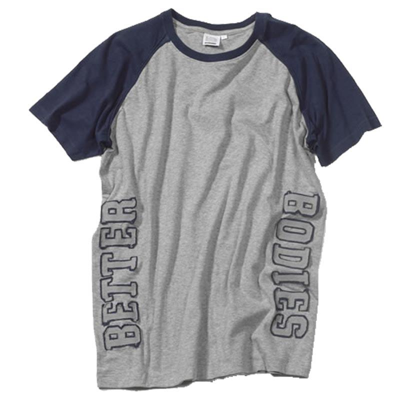 T-shirt Cinza Mangas Azuis