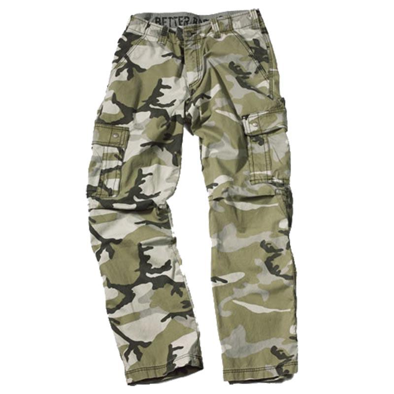 Calças bolsos de lado camuflado verde